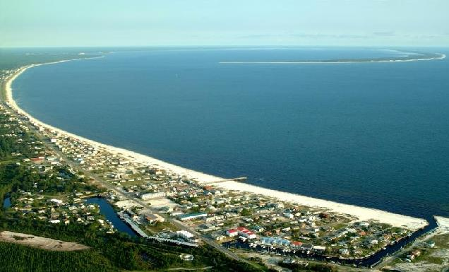 Aerial image of Mexico Beach and associated areas.